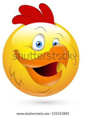 Smiley Vector Illustration - Rooster Face - stock vector