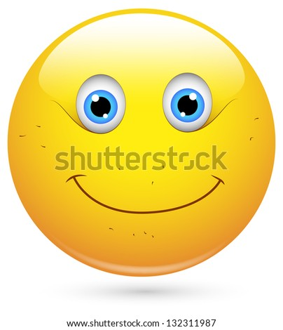 Smiley Vector Illustration - Unshaved Face - stock vector