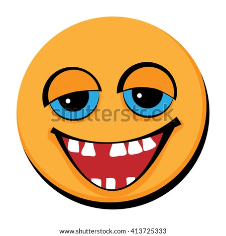 Smiley with a few teeth. Flat. - stock vector