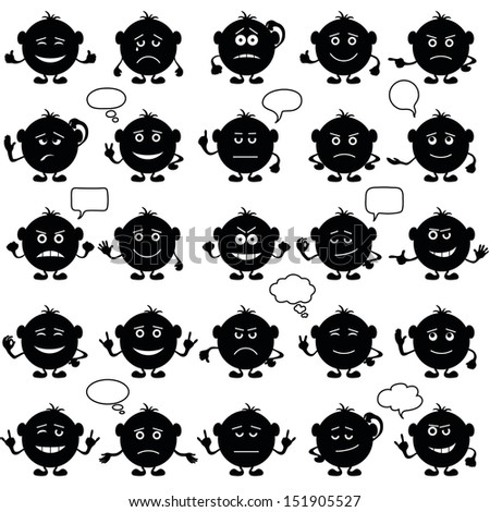 Smilies, set of round black and white characters, symbolising various human emotions. Vector - stock vector