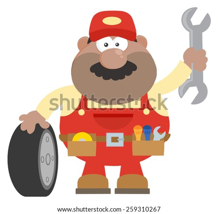 Smiling African American Mechanic Cartoon Character With Tire And Huge Wrench Flat Style. Vector Illustration With Background - stock vector