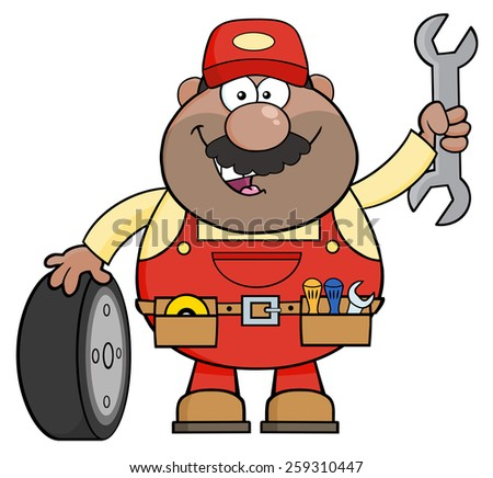 Smiling African American Mechanic Cartoon Character With Tire And Huge Wrench. Vector Illustration Isolated On White - stock vector