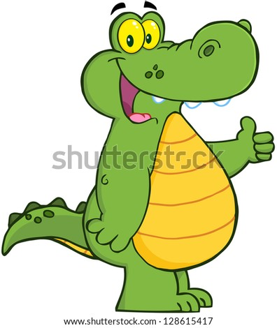 Smiling Alligator Or Crocodile Showing Thumbs Up - stock vector