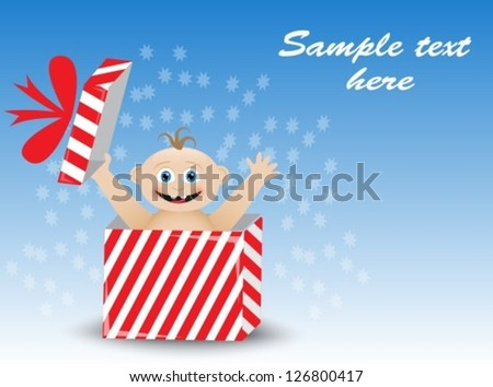 smiling baby in a striped gift box on a blue background - stock vector