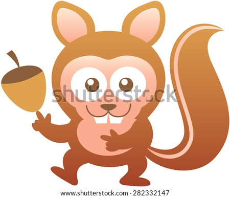 Smiling baby squirrel with big teeth, bulging eyes, brown fur, large ears and huge tail while posing, smiling enthusiastically and keeping in balance an acorn with the tip of its finger - stock vector