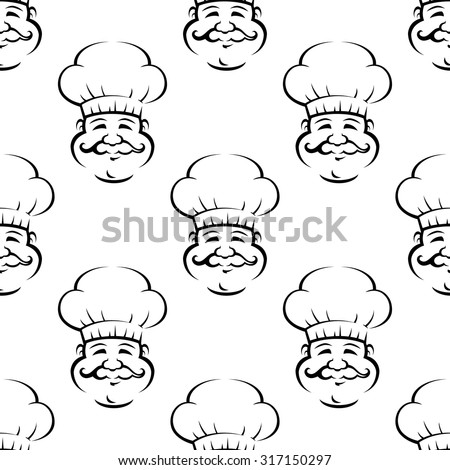 Smiling baker or chef with curly moustache seamless pattern on white background for restaurant or food themes design - stock vector