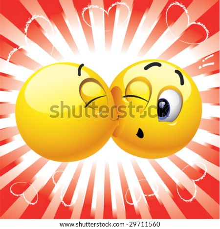 Smiling ball kissing another smiling ball - stock vector
