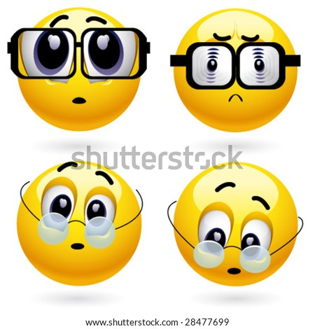 Smiling ball with different dioptre of a lens - stock vector