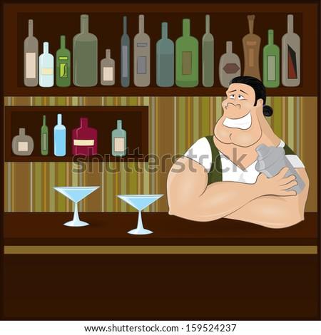 Smiling barman preparing cocktails . Job character vector illustration. - stock vector