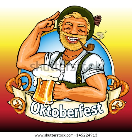Smiling Bavarian man with beer and smoking pipe, Oktoberfest label with ribbon banner and space for text, isolated - stock vector