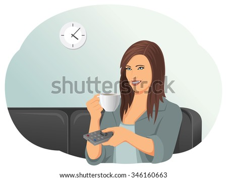 Smiling beautiful woman on a sofa is changing television channel with remote control and drinking a cup of coffee. Entertainment and relaxation. - stock vector