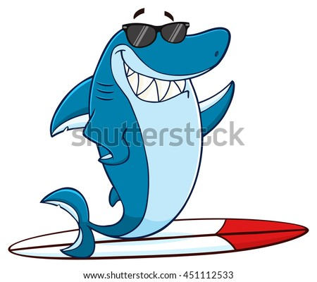 Smiling Blue Shark Cartoon Mascot Character With Sunglasses Surfing And Waving. Vector Illustration With Background - stock vector