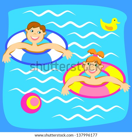 Smiling boy and girl playing on the water - stock vector