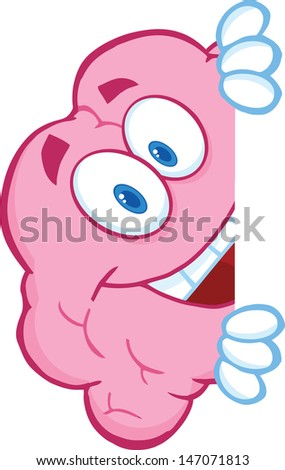 Smiling Brain Character Hiding Behind A Sign - stock vector