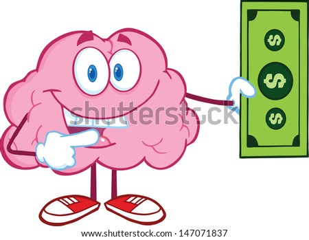 Smiling Brain Character Showing A Dollar Bill - stock vector