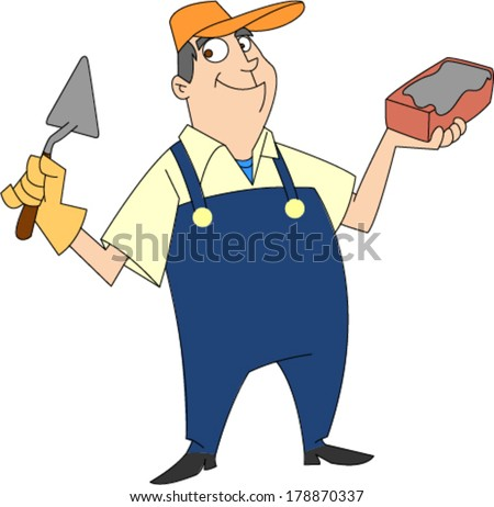 Smiling bricklayer in bib overalls holding brick and trowel  - stock vector