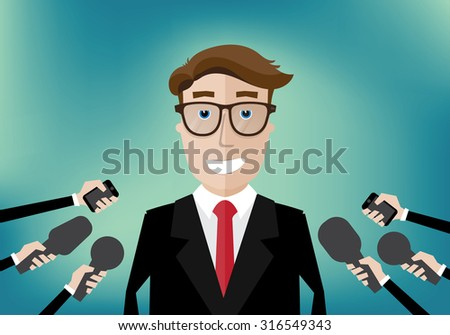 smiling businessman interviewed several journalists with microphones - stock vector
