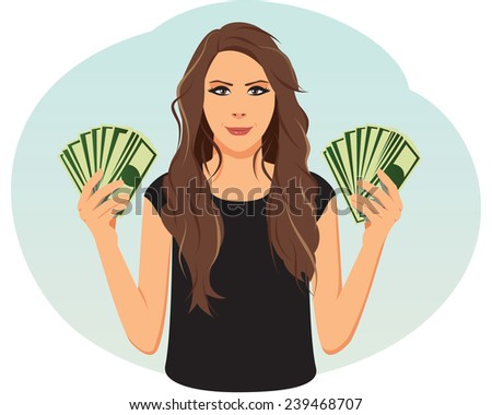 Smiling businesswoman is holding money - stock vector