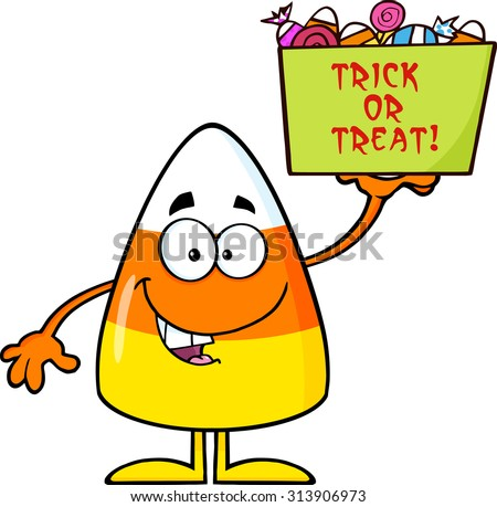 Smiling Candy Corn Cartoon Character Holds A Box With Candy And Text. Vector Illustration Isolated On White - stock vector
