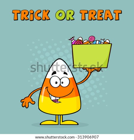 Smiling Candy Corn Cartoon Character Holds A Box With Candy. Vector Illustration With Background And Text - stock vector