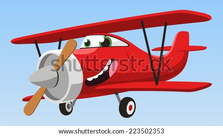 smiling cartoon biplane airplane flying in the sky vector illustration - stock vector