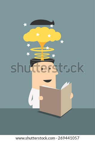 Smiling cartoon businessman sitting at table and reading book with brain explosion in head due to new knowledges - stock vector