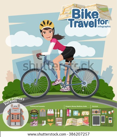 Smiling cartoon woman riding on a bike with infographic, park background. Flat style. - stock vector