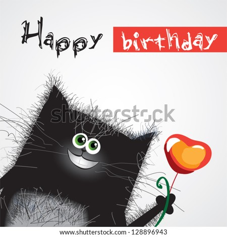 smiling cat with a heart card - stock vector