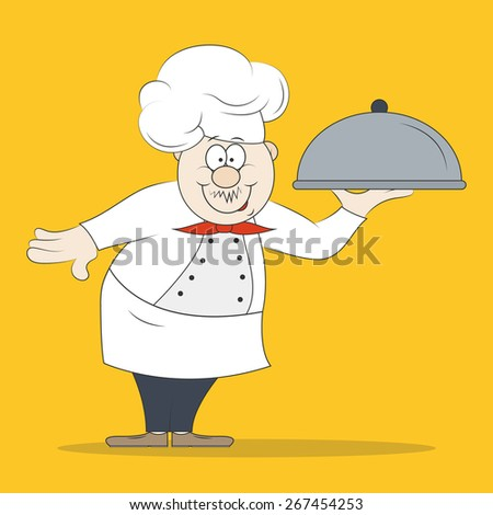 Smiling chef cook with delicious dish for your design - stock vector