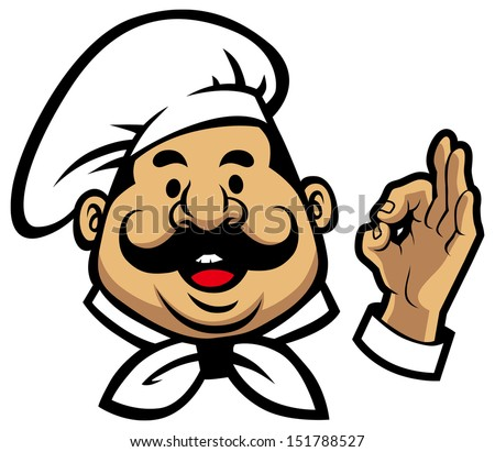 smiling chef face - stock vector