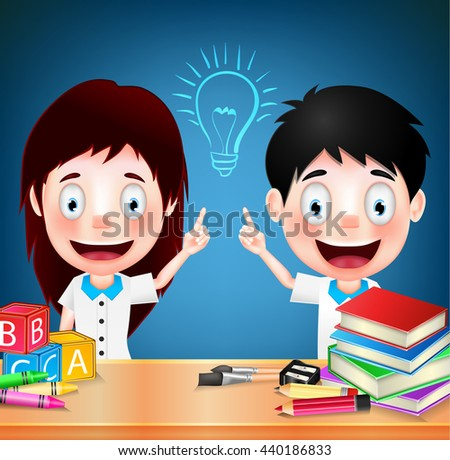 Smiling Children Student Characters with Idea on Blue Background. Vector Illustration  - stock vector