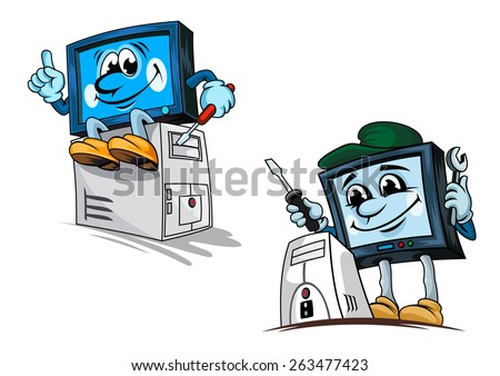 Smiling computer repairman cartoon characters in cap with wrench and screwdriver fixing processor for technical support or repair service design - stock vector