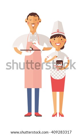 Smiling confectioners holding plate with cake. Vector portrait of chef confectioners in uniform with cream cakes. Cute confectioners chefs in hat and cake. Cake chef, confectioners chefs - stock vector