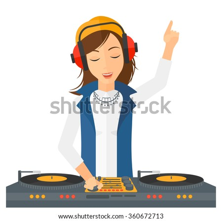 Smiling DJ with console. - stock vector