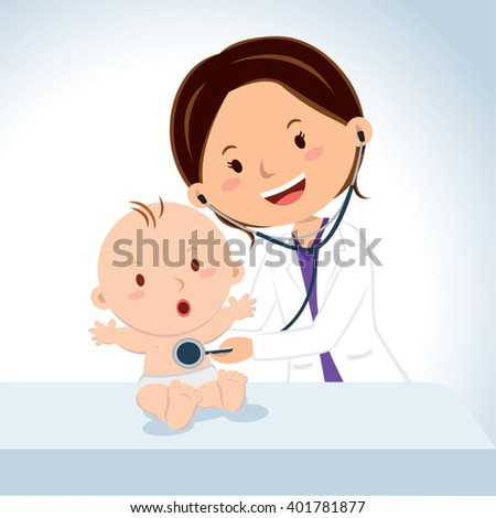 Smiling doctor examining baby boy. Pediatric doctor examine baby boy with the stethoscope. - stock vector