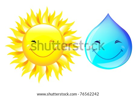 Smiling Drop Of Water And Sun, Isolated On White Background, Vector Illustration - stock vector