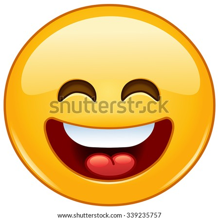 Smiling emoticon with open mouth and smiling eyes - stock vector