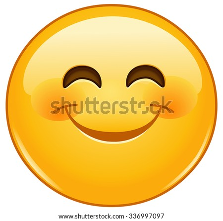 Smiling emoticon with smiling eyes and rosy cheeks - stock vector