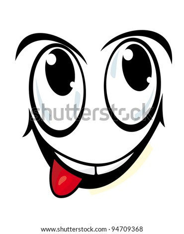 Smiling face in cartoon style for comics design, such a logo. Jpeg version also available in gallery - stock vector