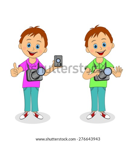smiling, funny boy with a camera in two versions, illustration, vector - stock vector