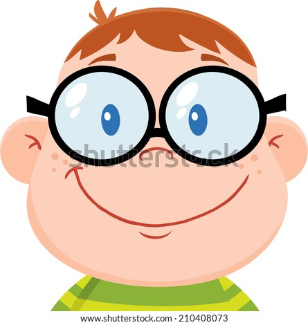 Smiling Geek Boy Head. Vector Illustration Isolated on white - stock vector