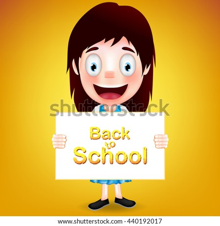 Smiling Girl Student Character Holding White Paper with Back to School Text on Orange Background. Vector Illustration  - stock vector