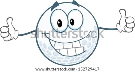 Smiling Golf Ball Cartoon Character Giving A Thumbs Up - stock vector