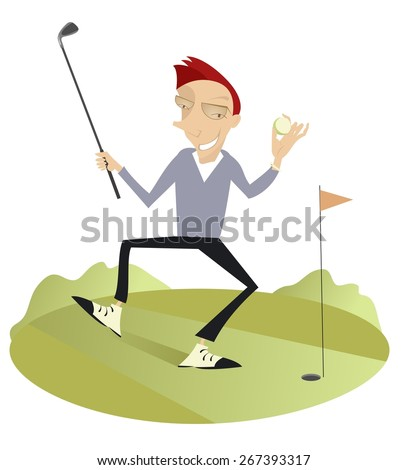 Smiling golfer on the golf course  - stock vector