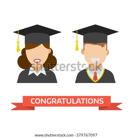 Smiling graduation man and woman education students. Graduates guy and girl in graduation hats and gown vector icon. Happy and joy graduation people. - stock vector