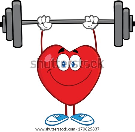 Smiling Heart Cartoon Mascot Character Lifting Weights. Vector Illustration Isolated on white - stock vector