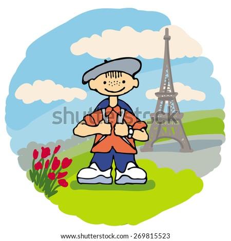 Smiling little traveler in Paris - stock vector
