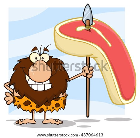 Smiling Male Caveman Hunter Cartoon Mascot Character Holding A Spear With Big Raw Steak. Vector Illustration Isolated On White Background - stock vector