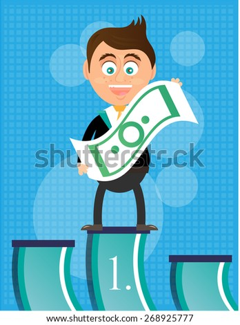 Smiling man, standing on podium, with banknote, he is winner, blue background with pattern - stock vector