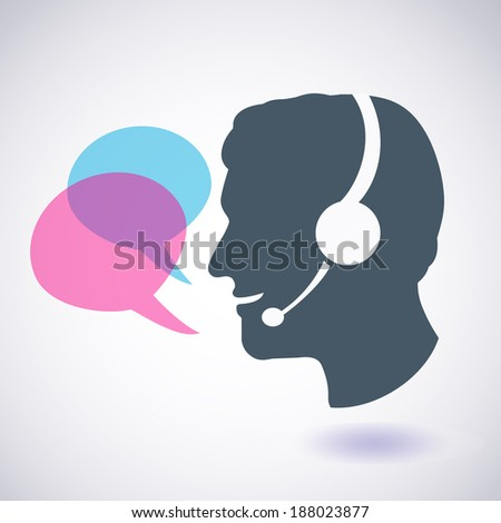 Smiling man with headphones and speech bubbles, call center concept - stock vector